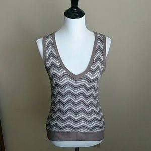 Chevron stripe knit vest
